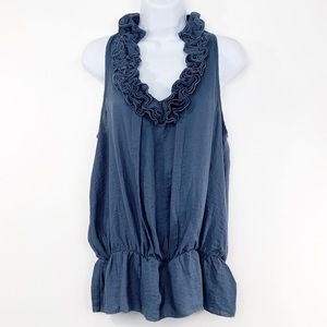 OUTBACK RED blue sleeveless ruffle tank top